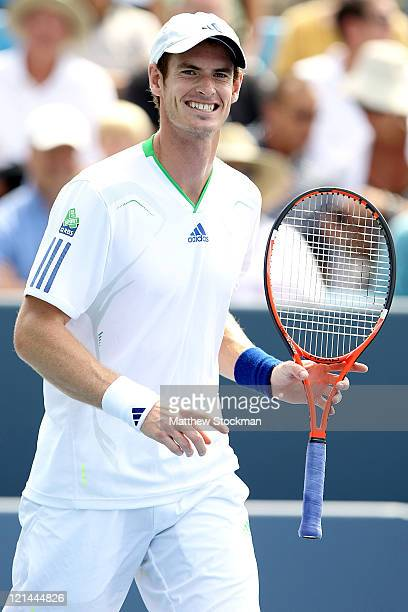 Andy Murray of Great Britain reacts to a point while playing Gilles Simon of France during the Western Southern Open at the Lindner Family Tennis...