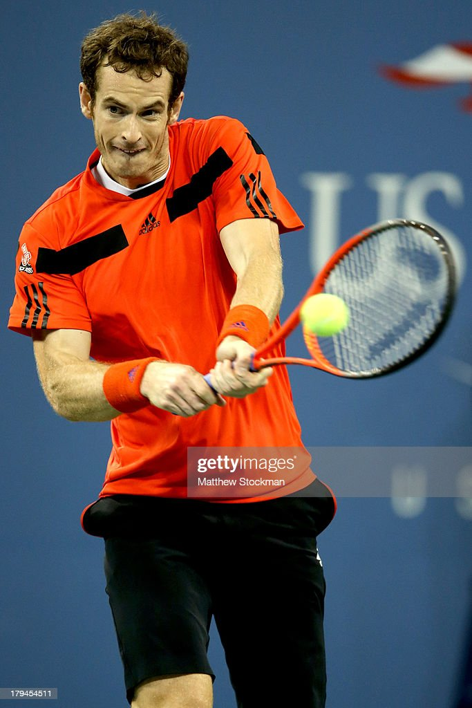 Andy Murray of Great Britain returns a backhand during his men's singles fourth round match against Denis Istomin of Uzbekistan on Day Nine of the 2013 US Open at USTA Billie Jean King National Tennis Center on September 3, 2013 in the Flushing neighborhood of the Queens borough of New York City.