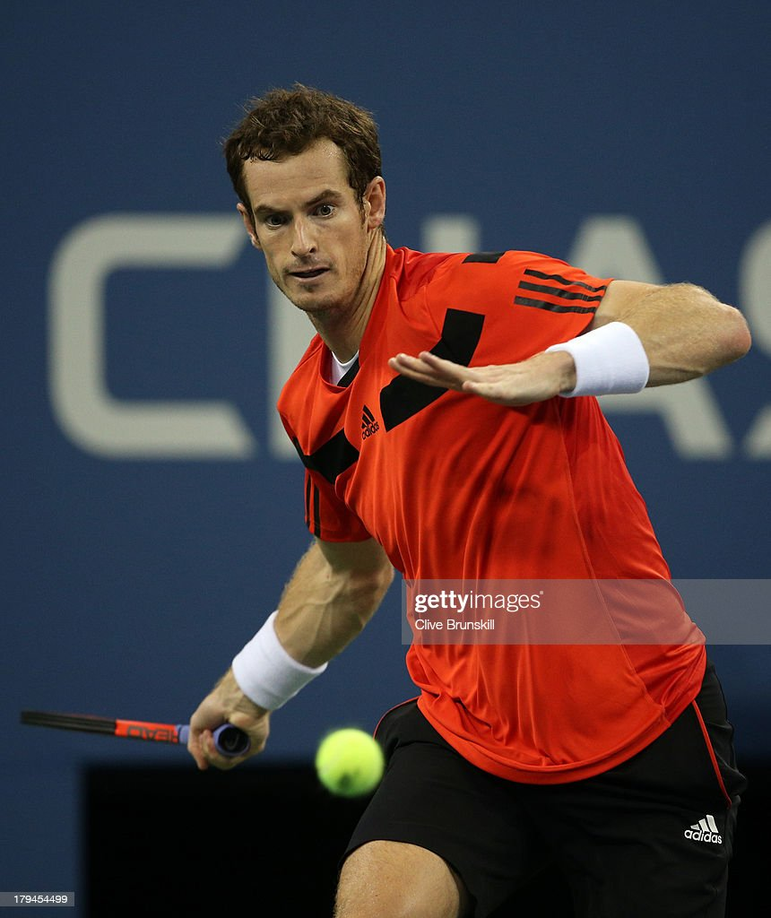 Andy Murray of Great Britain returns a forehand during his men's singles fourth round match against Denis Istomin of Uzbekistan on Day Nine of the 2013 US Open at USTA Billie Jean King National Tennis Center on September 3, 2013 in the Flushing neighborhood of the Queens borough of New York City.
