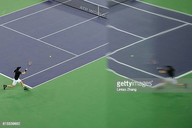 Andy Murray of Great Britain returns a shot against Gilles Simon of France during the Men's singles Semifinals match in day seven of Shanghai Rolex...