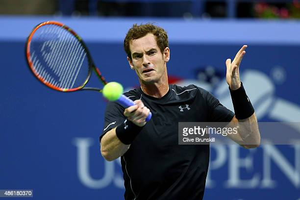Andy Murray of Great Britain returns a shot against Nick Kyrgios of Australia during their Men's Singles First Round match on Day Two of the 2015 US...