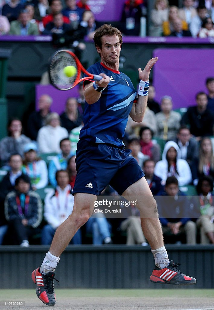 <a gi-track='captionPersonalityLinkClicked' href=/galleries/search?phrase=Andy+Murray+-+Tennis+Player&family=editorial&specificpeople=200668 ng-click='$event.stopPropagation()'>Andy Murray</a> of Great Britain returns a shot against Novak Djokovic of Serbia in the Semifinal of Men's Singles Tennis on Day 7 of the London 2012 Olympic Games at Wimbledon on August 3, 2012 in London, England.