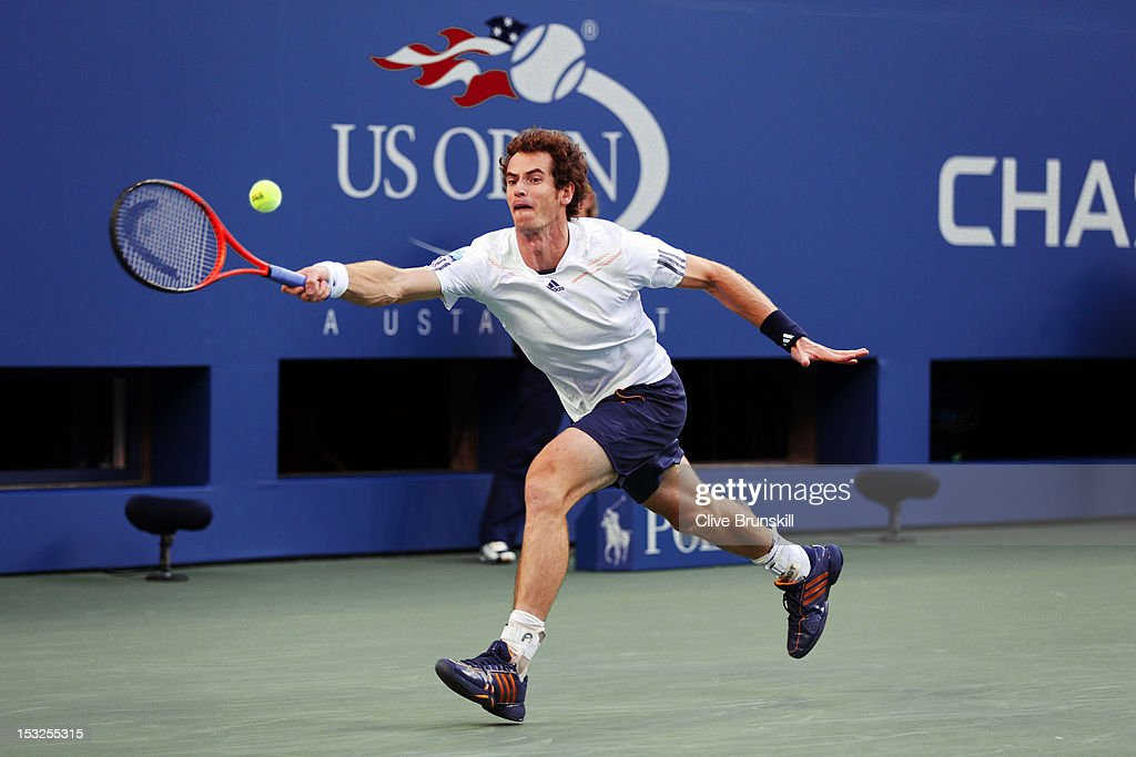 Andy Murray of Great Britain returns a shot during his men's singles final match against Novak Djokovic of Serbia on Day Fifteen of the 2012 US Open at USTA Billie Jean King National Tennis Center on September 10, 2012 in the Flushing neighborhood of the Queens borough of New York City.