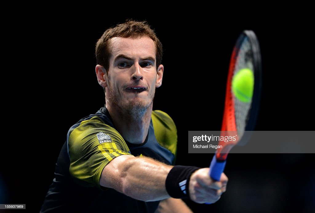 Andy Murray of Great Britain returns a shot during his men's singles match against Jo-Wilfried Tsonga of France on day five of the ATP World Tour Finals at O2 Arena on November 9, 2012 in London, England.