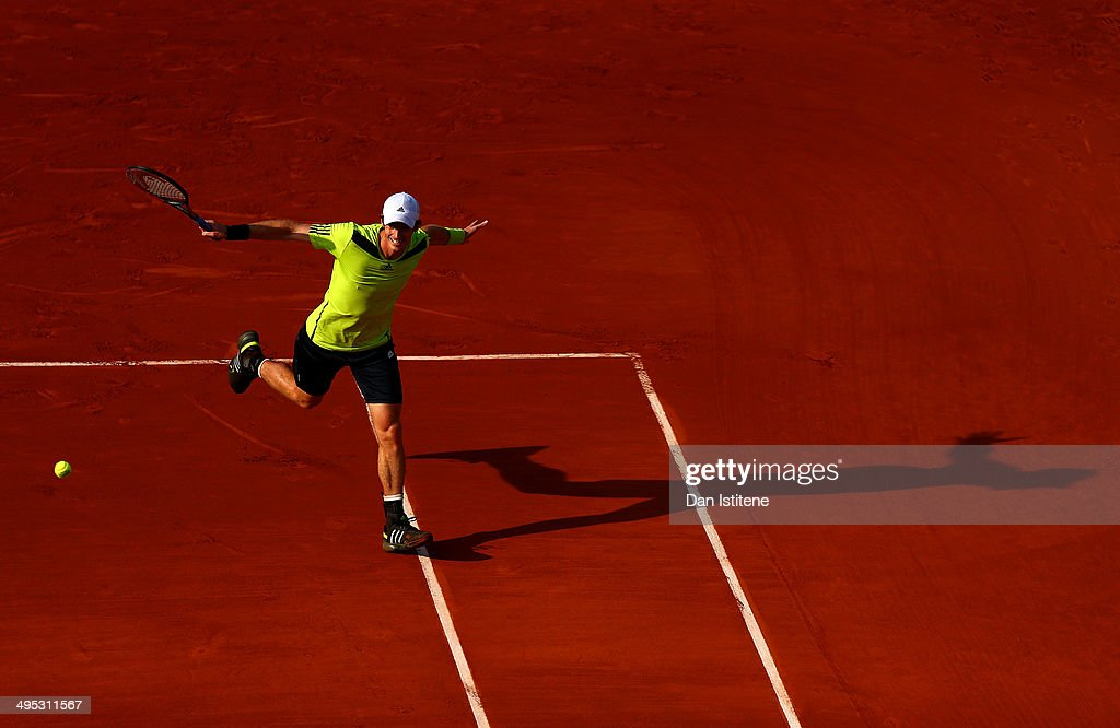 <a gi-track='captionPersonalityLinkClicked' href=/galleries/search?phrase=Andy+Murray+-+Tennis+Player&family=editorial&specificpeople=200668 ng-click='$event.stopPropagation()'>Andy Murray</a> of Great Britain returns a shot during his men's singles match against Fernando Verdasco of Spain on day nine of the French Open at Roland Garros on June 2, 2014 in Paris, France.