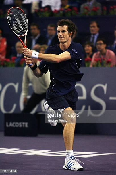 Andy Murray of Great Britain returns a shot during his semifinal match against Nikolay Davydenko of Russia in the Tennis Masters Cup held at Qi Zhong...
