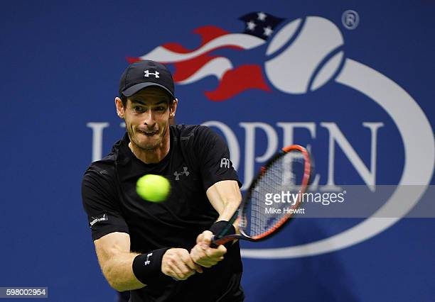 Andy Murray of Great Britain returns a shot to Lukas Rosol of the Czech Republic during his first round Men's Singles match on Day Two of the 2016 US...