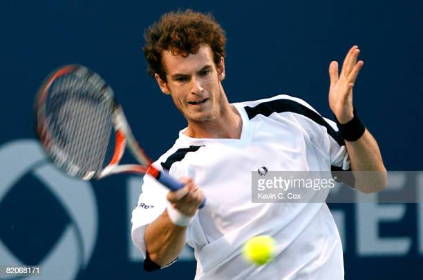 Andy Murray of Great Britain returns a shot to Novak Djokovic of Serbia during the Rogers Cup at the Rexall Centre at York University on July 25 2008...