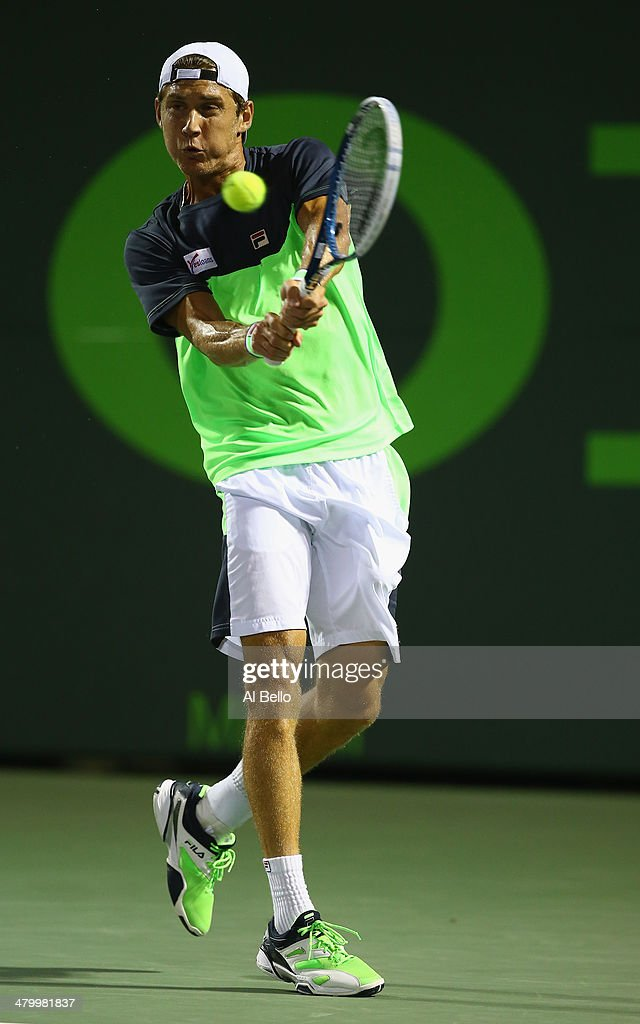 Andy Murray of Great Britain returns the ball to Matthew Ebden of Australia during their match on day 5 of the Sony Open at Crandon Park Tennis Center on March 21, 2014 in Key Biscayne, Florida.