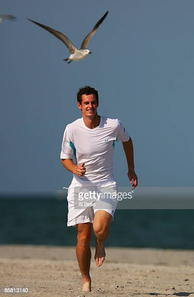 Andy Murray of Great Britain runs on the beach through a flock of seagulls for photographers after defeating Novak Djokovic of Serbia to win the...