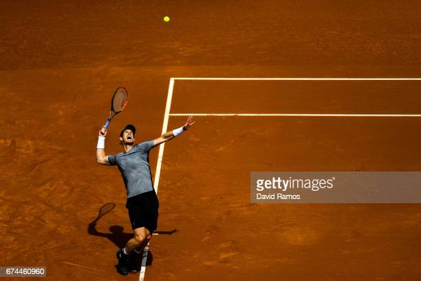 Andy Murray of Great Britain serves against Albert RamosVinolas of Spain in the quarterfinal on day five of the Barcelona Open Banc Sabadells in the...