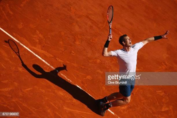 Andy Murray of Great Britain serves against Gilles Muller of Luxembourg in his second round match on day four of the Monte Carlo Rolex Masters at...
