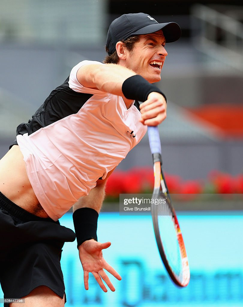 Andy Murray of Great Britain serves against Gilles Simon of France in their third round match during day six of the Mutua Madrid Open tennis tournament at the Caja Magica on May 05, 2016 in Madrid,Spain