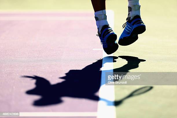 Andy Murray of Great Britain serves against Kevin Anderson of South Africa in their fourth round match during the Miami Open Presented by Itau at...