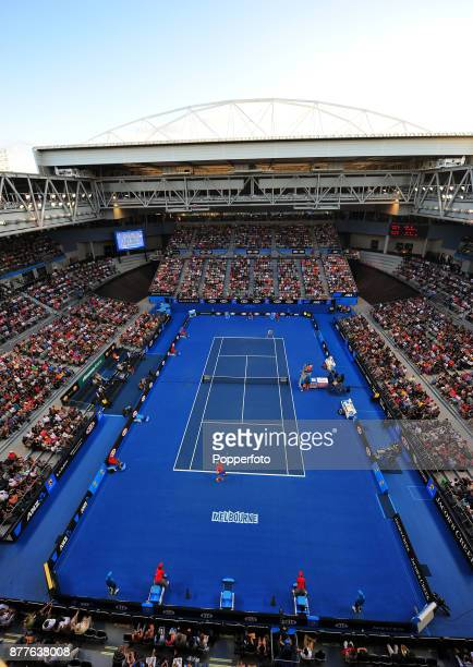 Andy Murray of Great Britain serves against Michael Llodra of France on Hisense Arena during a Men's Singles 3rd round match on day six of the 2012...