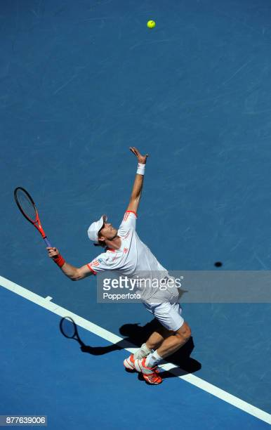 Andy Murray of Great Britain serves against Mikhail Kukushkin of Kazakhstan during a Men's Singles 4th round match on day eight of the 2012...