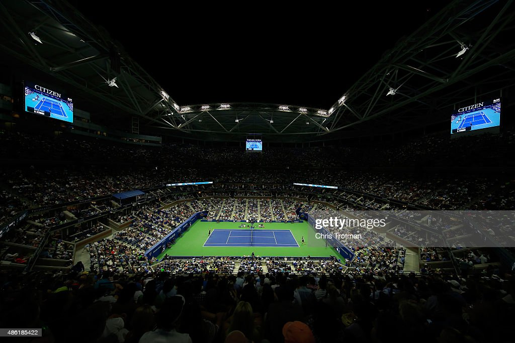 Andy Murray of Great Britain serves against Nick Kyrgios of Australia during their Men's Singles First Round match in Arthur Ashe Stadium on day two of the 2015 U.S. Open at the USTA Billie Jean King National Tennis Center on September 1, 2015 in New York City.