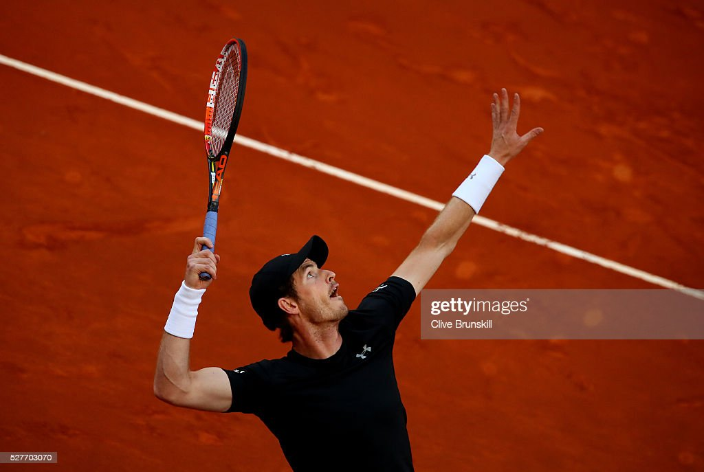 Andy Murray of Great Britain serves against Radek Stepanek of the Czech Republic in their second round match during day four of the Mutua Madrid Open tennis tournament at the Caja Magica on May 03, 2016 in Madrid,Spain.