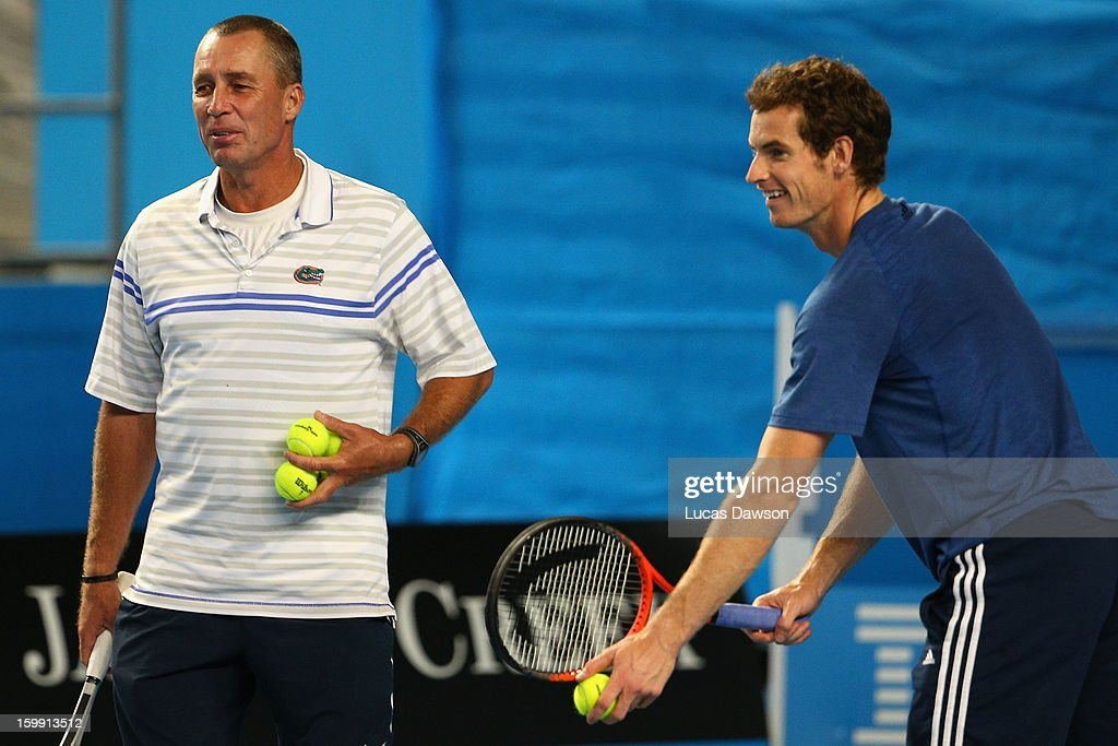 Andy Murray of Great Britain serves as his coach Ivan Lendl looks on in training session during day ten of the 2013 Australian Open at Melbourne Park on January 23, 2013 in Melbourne, Australia.
