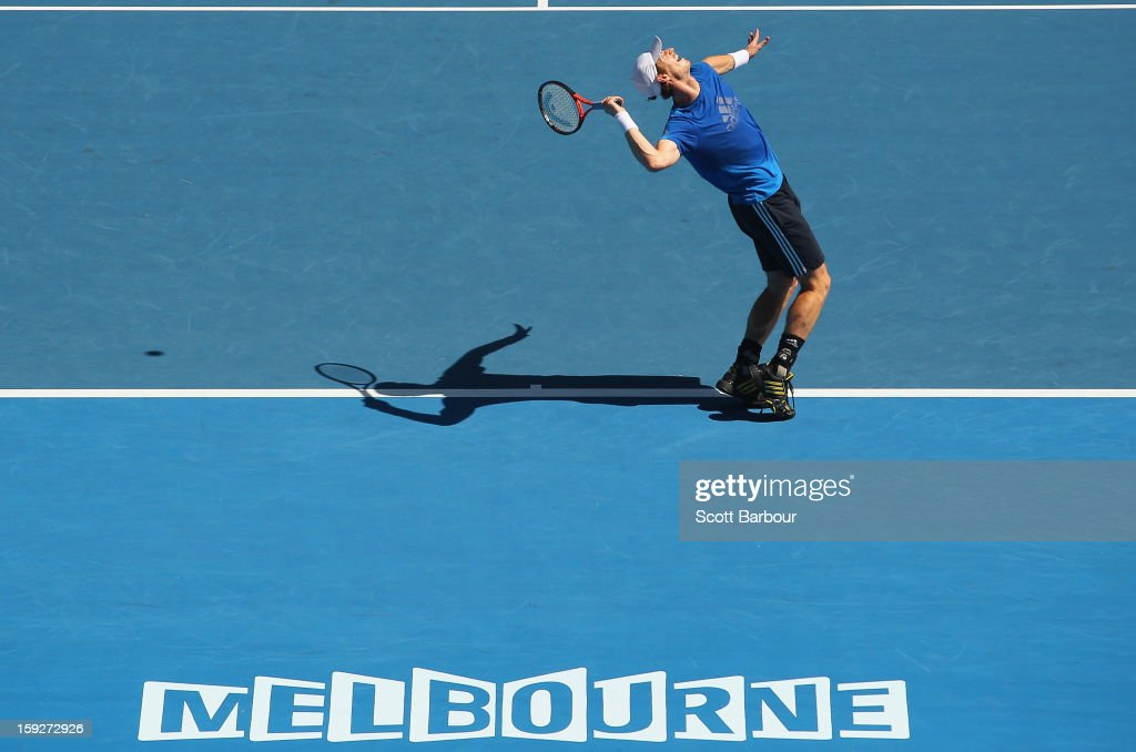 <a gi-track='captionPersonalityLinkClicked' href=/galleries/search?phrase=Andy+Murray+-+Tennis+Player&family=editorial&specificpeople=200668 ng-click='$event.stopPropagation()'>Andy Murray</a> of Great Britain serves during a practice session ahead of the 2013 Australian Open at Melbourne Park on January 11, 2013 in Melbourne, Australia.
