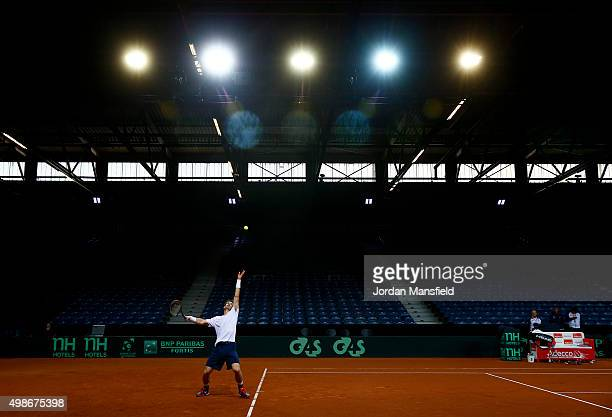 Andy Murray of Great Britain serves during a practice session ahead of the start of The Davis Cup at Flanders Expo on November 25 2015 in Ghent...