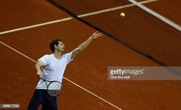 Andy Murray of Great Britain serves during a practice session ahead of the start of the Davis Cup Final at Flanders Expo on November 26 2015 in Ghent...