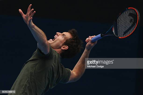 Andy Murray of Great Britain serves during a practice session ahead of the 2016 Australian Open at Melbourne Park on January 15 2016 in Melbourne...