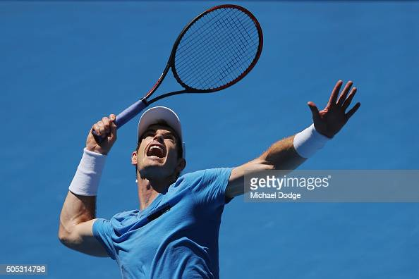 Andy Murray of Great Britain serves during a practice session ahead of the 2016 Australian Open at Melbourne Park on January 17 2016 in Melbourne...