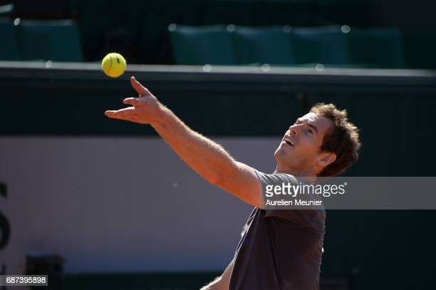Andy Murray of Great Britain serves during a training session at the 2017 French Open at Roland Garros on May 23 2017 in Paris France