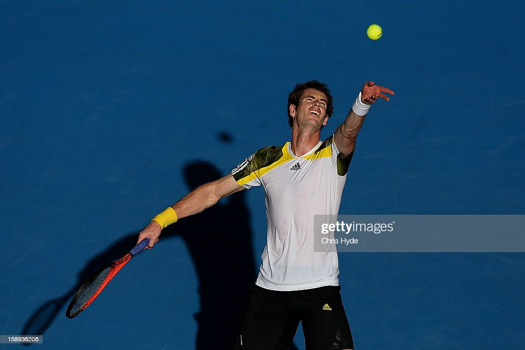 <a gi-track='captionPersonalityLinkClicked' href=/galleries/search?phrase=Andy+Murray+-+Tennis+Player&family=editorial&specificpeople=200668 ng-click='$event.stopPropagation()'>Andy Murray</a> of Great Britain serves during his match against Denis IstomIn of Uzbekistan on day six of the Brisbane International at Pat Rafter Arena on January 4, 2013 in Brisbane, Australia.