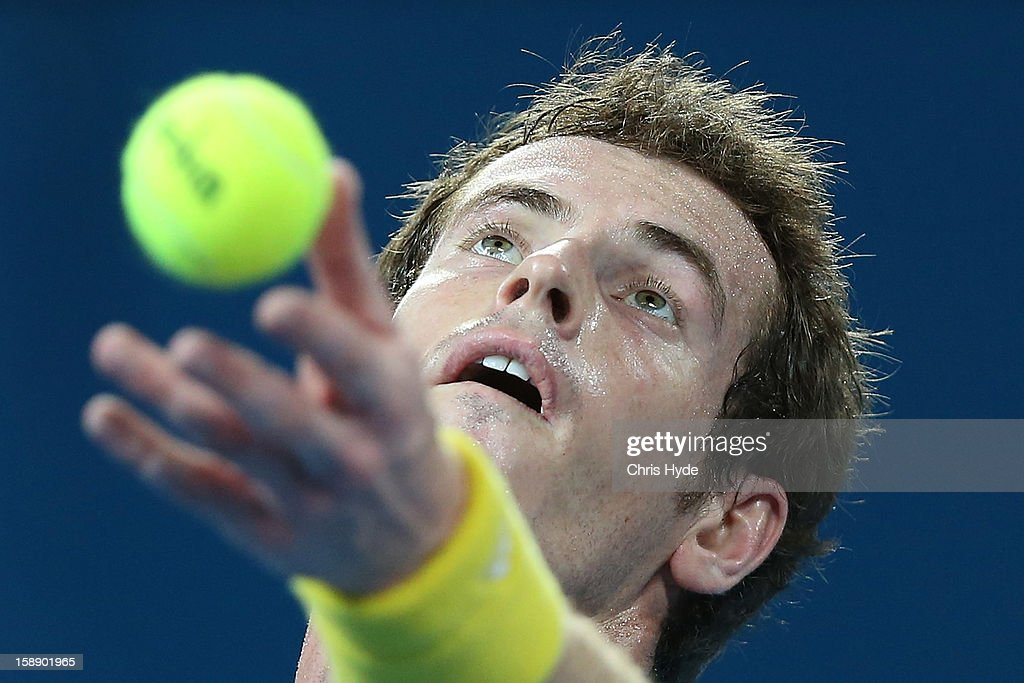 Andy Murray of Great Britain serves during his match against John Millman of Australia on during day five of the Brisbane International at Pat Rafter Arena on January 3, 2013 in Brisbane, Australia.