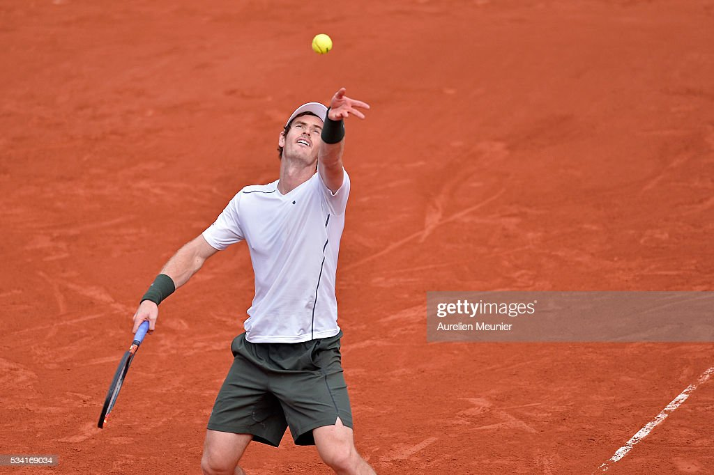Andy Murray of Great Britain serves during his men's single second round match against Mathias Bourgue of France on day four of the 2016 French Open at Roland Garros on May 25, 2016 in Paris, France.