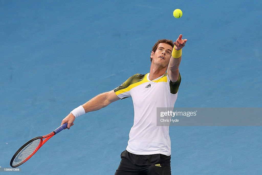 Andy Murray of Great Britain serves during his semi final match against Kei Nishikori of Japan during day seven of the Brisbane International at Pat Rafter Arena on January 5, 2013 in Brisbane, Australia.