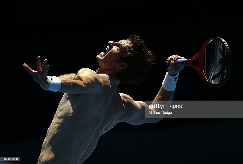 <a gi-track='captionPersonalityLinkClicked' href=/galleries/search?phrase=Andy+Murray+-+Tennis+Player&family=editorial&specificpeople=200668 ng-click='$event.stopPropagation()'>Andy Murray</a> of Great Britain serves during practice ahead of the 2013 Australian Open at Melbourne Park on January 8, 2013 in Melbourne, Australia.