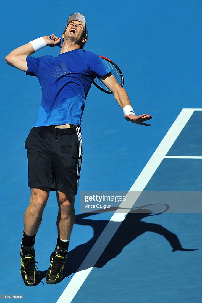 Andy Murray of Great Britain serves during practice ahead of the 2013 Australian Open at Melbourne Park on January 11, 2013 in Melbourne, Australia.