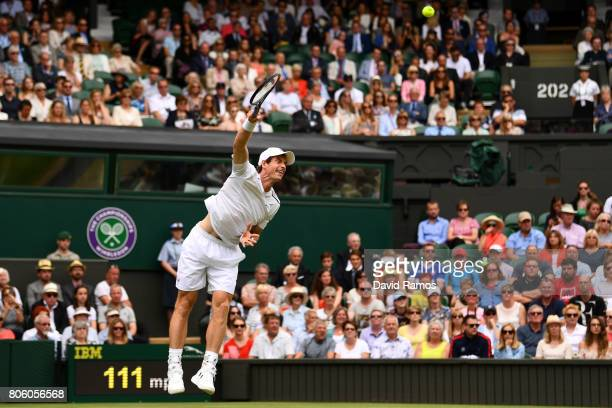 Andy Murray of Great Britain serves during the Gentlemen's Singles first round match against Alexander Bublik of Kazakhstan on day one of the...