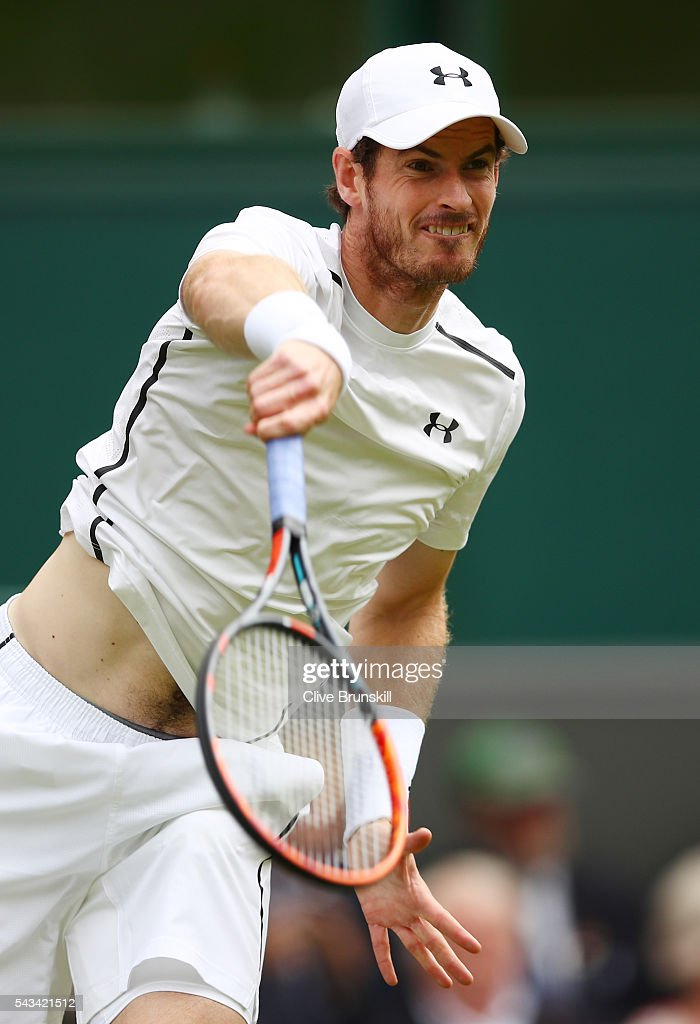 <a gi-track='captionPersonalityLinkClicked' href=/galleries/search?phrase=Andy+Murray+-+Tennis+Player&family=editorial&specificpeople=200668 ng-click='$event.stopPropagation()'>Andy Murray</a> of Great Britain serves during the Men's Singles first round match against Liam Broady of Great Britain on day two of the Wimbledon Lawn Tennis Championships at the All England Lawn Tennis and Croquet Club on June 28, 2016 in London, England.