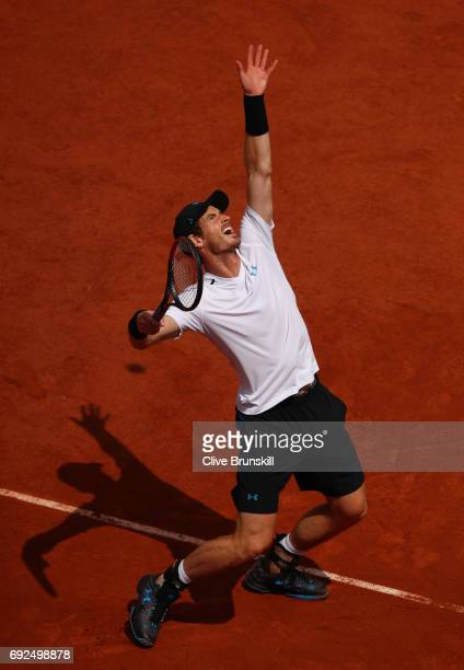 Andy Murray of Great Britain serves during the men's singles fourth round match against Karen Khachanov of Russia on day nine of the 2017 French Open...