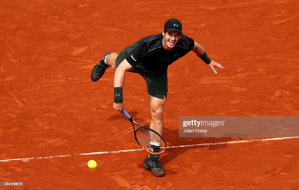 <a gi-track='captionPersonalityLinkClicked' href=/galleries/search?phrase=Andy+Murray+-+Tennis+Player&family=editorial&specificpeople=200668 ng-click='$event.stopPropagation()'>Andy Murray</a> of Great Britain serves during the Men's Singles second round match against Mathias Bourgue of France on day four of the 2016 French Open at Roland Garros on May 25, 2016 in Paris, France.
