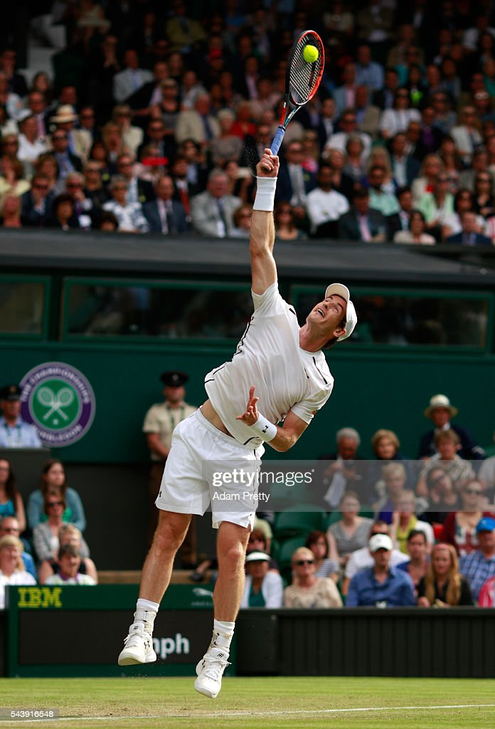 <a gi-track='captionPersonalityLinkClicked' href=/galleries/search?phrase=Andy+Murray+-+Tennis+Player&family=editorial&specificpeople=200668 ng-click='$event.stopPropagation()'>Andy Murray</a> of Great Britain serves during the Men's Singles second round match against Yen-Hsun Lu of Taipei on day four of the Wimbledon Lawn Tennis Championships at the All England Lawn Tennis and Croquet Club on June 30, 2016 in London, England.