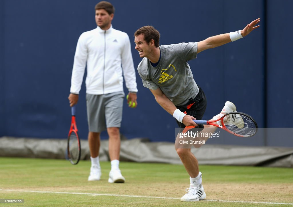 <a gi-track='captionPersonalityLinkClicked' href=/galleries/search?phrase=Andy+Murray+-+Tennis+Player&family=editorial&specificpeople=200668 ng-click='$event.stopPropagation()'>Andy Murray</a> of Great Britain serves during training on day two of the AEGON Championships at Queens Club on June 11, 2013 in London, England.