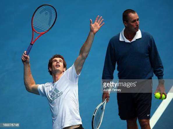 Andy Murray of Great Britain serves in a practice session during day thirteen of the 2013 Australian Open at Melbourne Park on January 26 2013 in...