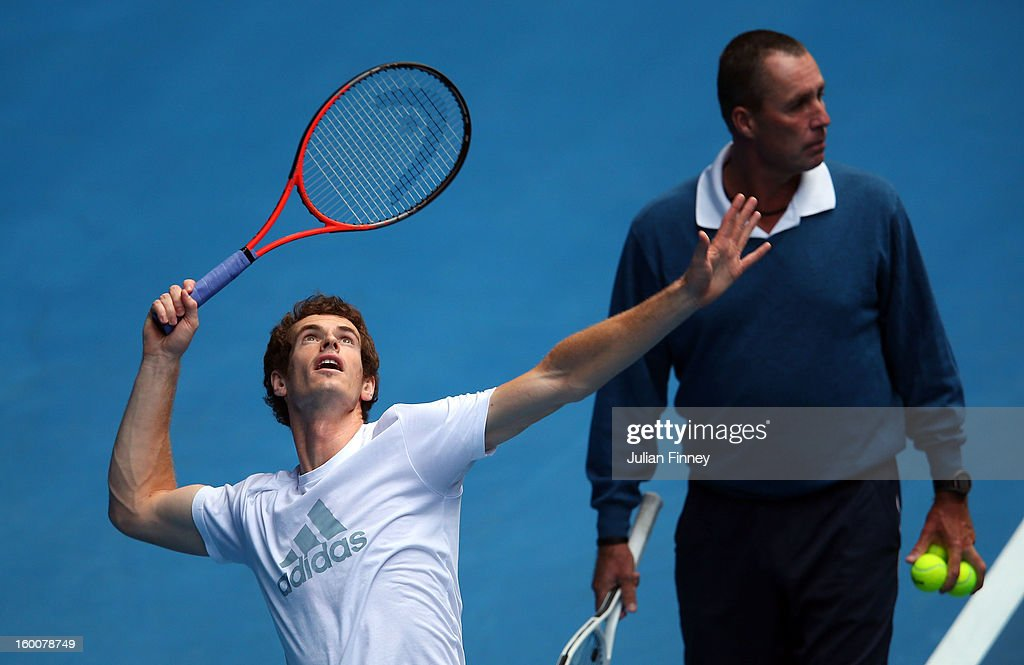 Andy Murray of Great Britain serves in a practice session during day thirteen of the 2013 Australian Open at Melbourne Park on January 26, 2013 in Melbourne, Australia.