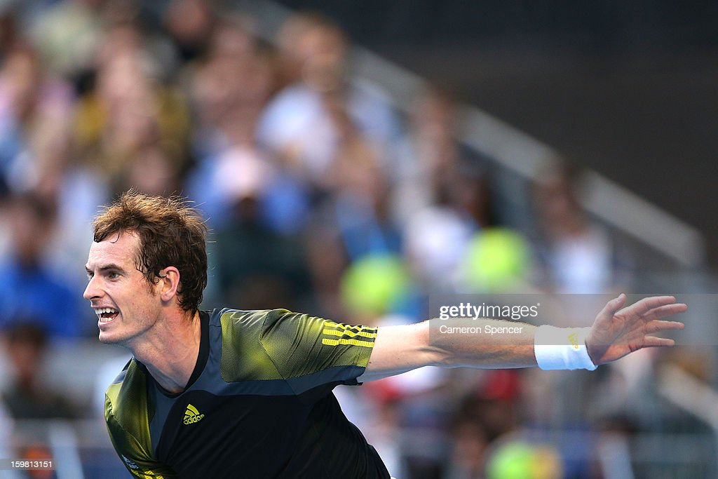 Andy Murray of Great Britain serves in his fourth round match against Gilles Simon of France during day eight of the 2013 Australian Open at Melbourne Park on January 21, 2013 in Melbourne, Australia.