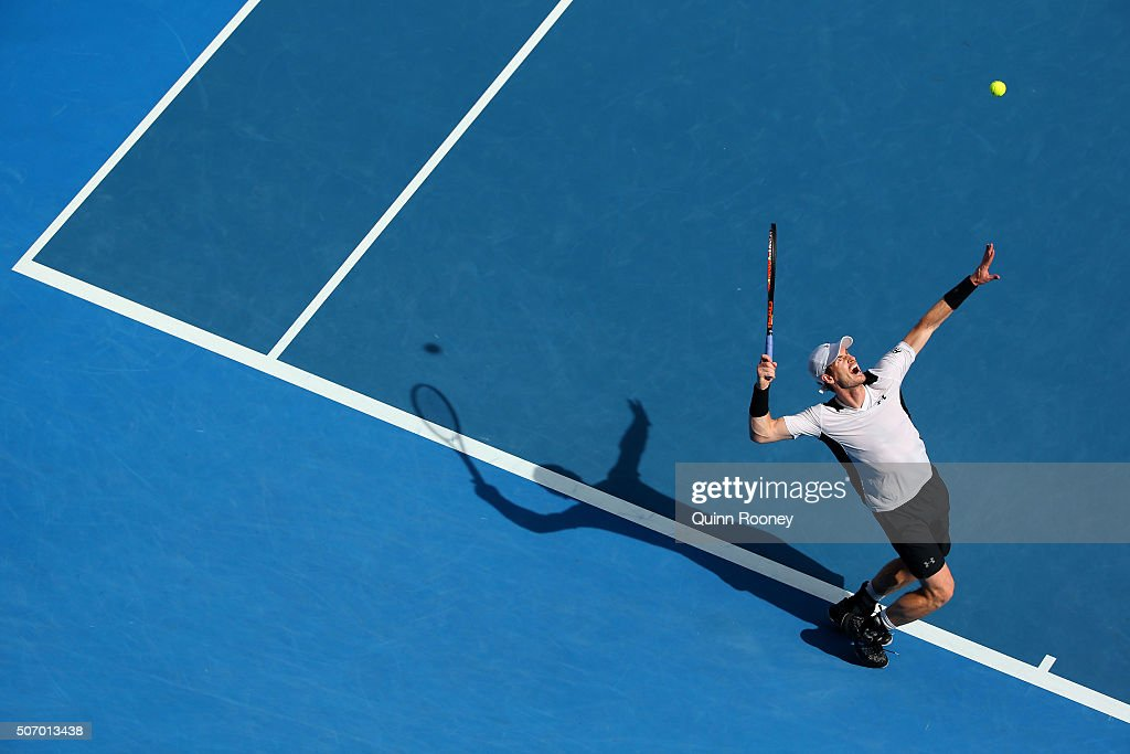 Andy Murray of Great Britain serves in his quarter final match against David Ferrer of Spain during day 10 of the 2016 Australian Open at Melbourne...