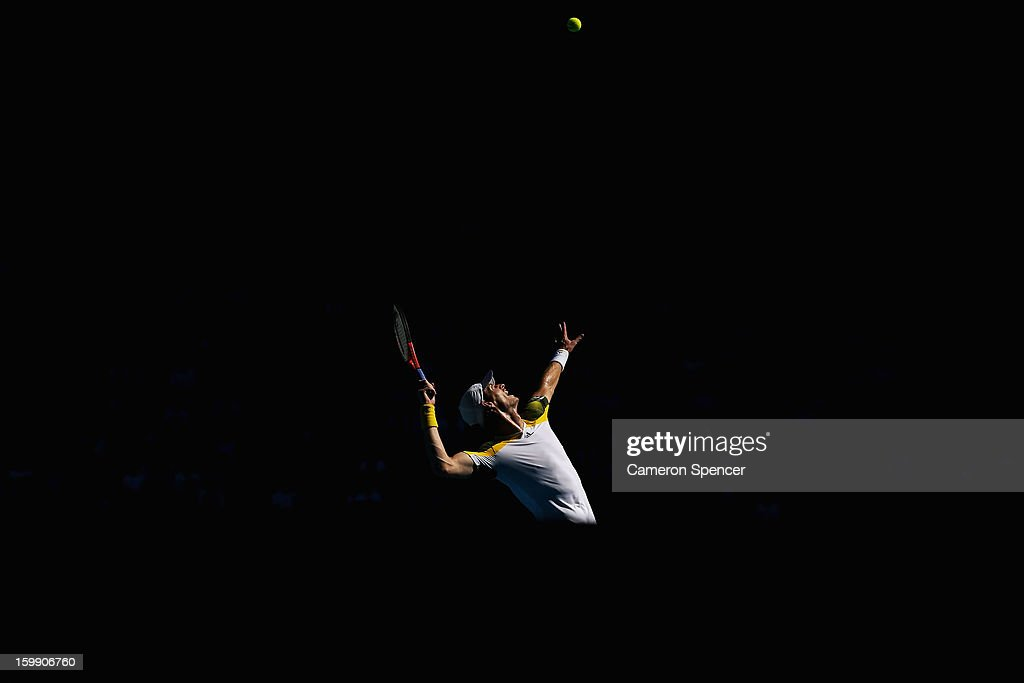 Andy Murray of Great Britain serves in his Quarterfinal match against Jeremy Chardy of France during day ten of the 2013 Australian Open at Melbourne Park on January 23, 2013 in Melbourne, Australia.