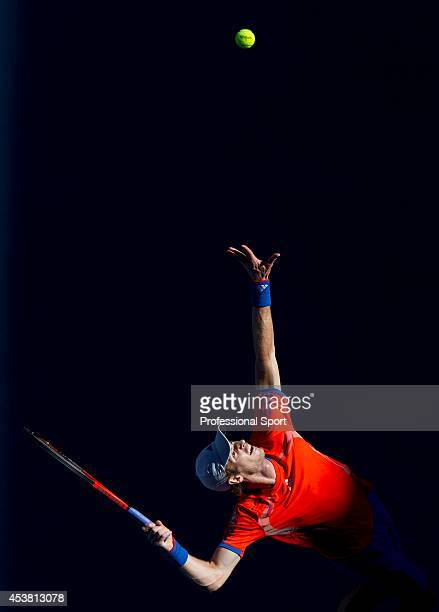Andy Murray of Great Britain serves in his second round match against Edouard RogerVasselin of France during day four of the 2012 Australian Open at...