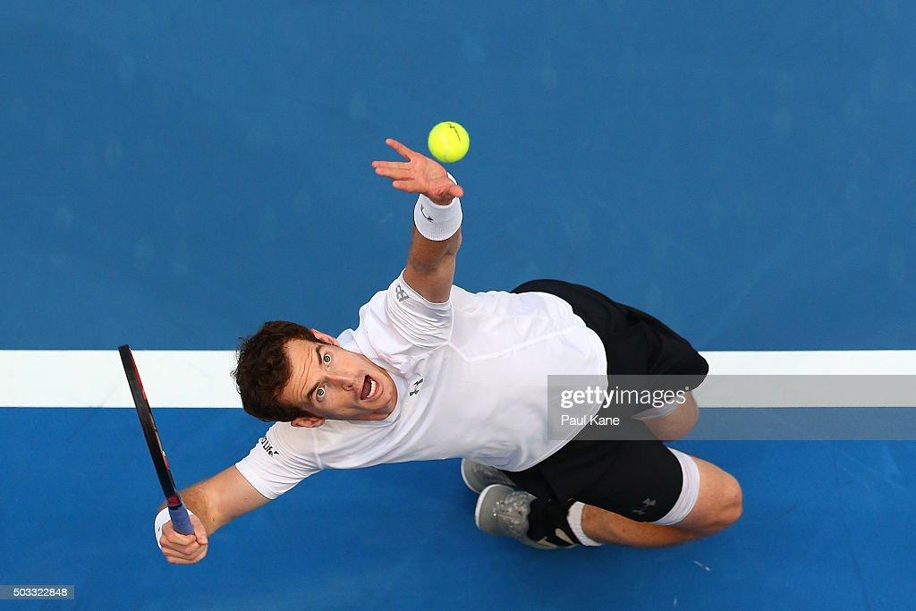 Andy Murray of Great Britain serves in his singles match against Kenny De Schepper of France during day two of the 2016 Hopman Cup at Perth Arena on...