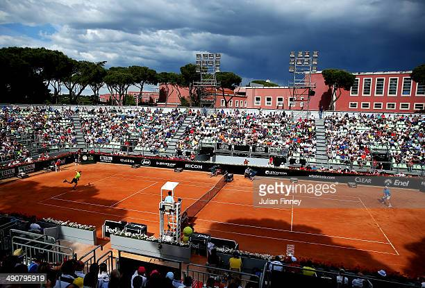 Andy Murray of Great Britain serves on the grandstand court in his match against Jurgen Melzer of Austria during day five of the Internazionali BNL...