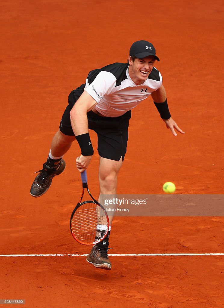 <a gi-track='captionPersonalityLinkClicked' href=/galleries/search?phrase=Andy+Murray+-+Tennis+Player&family=editorial&specificpeople=200668 ng-click='$event.stopPropagation()'>Andy Murray</a> of Great Britain serves to Gilles Simon of France during day six of the Mutua Madrid Open tennis tournament at the Caja Magica on May 05, 2016 in Madrid, Spain.